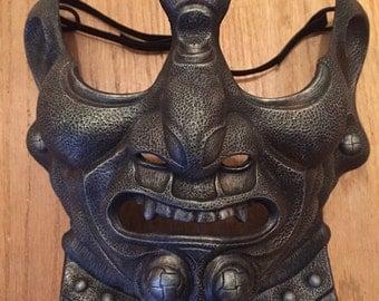 Samurai Menpo Mask - Pewter Style