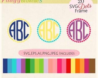 SALE dots scalloped svg monogram frames, frame clip art, T-shirt design, mug design, SVG, EPS, Cut File, Die Cut, Cricut, Vinyl Cutters