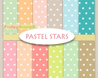 "ON SALE Pastel Stars Digital Paper Set _ Pastel Scrapbook Papers,Star Background Digital Paper, Size 12""x12"", No.269/2 ,instant download"