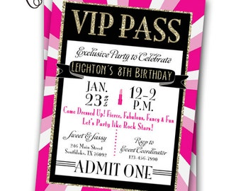 VIP Pass Invitation Glitz & Glamour Rock Star Party Printable Invitation 5x7 VIP Fashion Party Glam Spa VIP Birthday Party Gold Pink Glitter