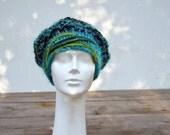 Winter woman hat, slouch warm hand knitted big beret indigo soft unique fashion deep denim blue teal green felt geometrical applique art 179