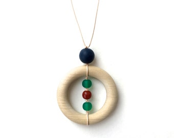 Teething Necklace for Mom - Wooden Nursing Necklace - Autumnals - Navy Blue, Emerald Green, Rust, Amber