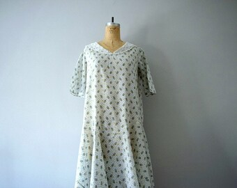 20s 30s dress . vintage 1920s 1930s cotton print dress
