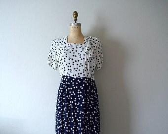 1940s rayon dress . vintage 40s dress . large