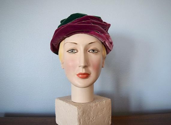 50% SALE . Velvet turban hat . 1960s vintage hat . 50s 60s hat