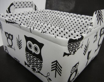"LG Diaper Caddy 12"" x 10"" x 6""(choose Basket COLOR)""One Divider -Baby Gift-Fabric Storage Organizer-""Black Owl on White"""