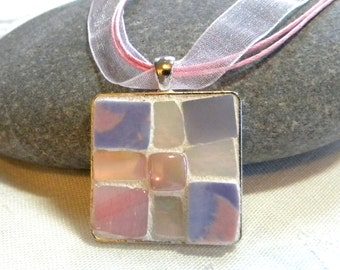 Mosaic Pendant - PURPLE and PINK - Jewelry Necklace - Broken China and Stained Glass