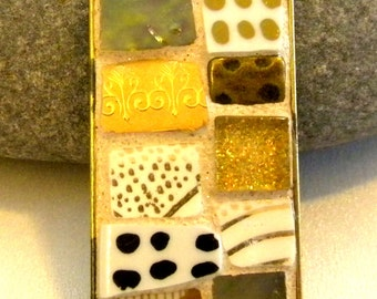 Mosaic Pendant - GOLD Shimmer 2 -  Jewelry Necklace - Stained Glass - China - Stained Glass - Beads