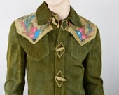Vintage 1970's EL Toro Bravo Hand Painted Bird Suede Leather HiPPiE RoCK STaR Western Jacket Size S 40