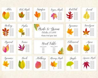 Autumn Leaf Seating Assignment Charts, Fall Leaf Seating Assignment Cards, Wedding Guest Seating Chart, Seating Card, Guest Assignment A109