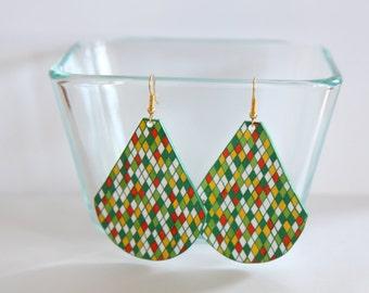 Green, orange and yellow teardrop earrings