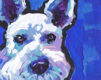 White Schnauzer dog portrait art print of modern pop art painting bright colors 8x8
