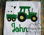 baby first birthday boy or girl   cow tractor birthday shirt with name