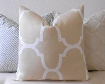 SALE Designer pillow cover, Windsor Smith for Kravet, Dune Riad, tan trellis