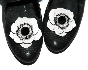 Leather flower Anemone shoe clips, genuine leather flower shoe clips.