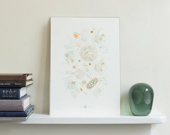 Feast Illustration Letterpress Art Print