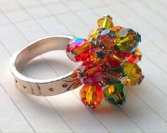 Fine Silver and Swarovski Crystal Cluster Ring size 7