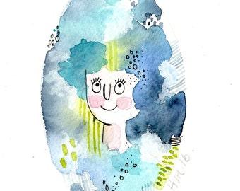 Abstract Girl, Original Watercolour, 6 x 4 Art