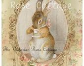 Adorable Time For Tea Bunny Fabric Block - Art Print
