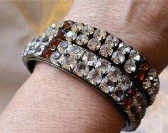 Vintage Rhinestone Cabochon Bangles 1960s Paste CZ Diamond 2 Row Matching Bracelet Set Pair