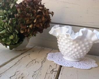 Vintage Brilliant White Fenton Hobnail Dish With Original Label - Retro + Mid Century Collectible Art Glass + Wedding Decor, Bud Vase