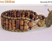 Clearance Sale Leather and Gemstone Mens Wrap Bracelet - Cuff Bracelet- Tiger Eye Gemstone