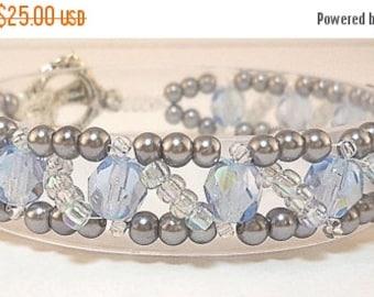 Clearance Sale Crystal Bracelet -  Pearl Bracelet -  Seed Bead Bracelet - Toggle Clasp