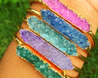 Gold Dipped Druzy Cuff