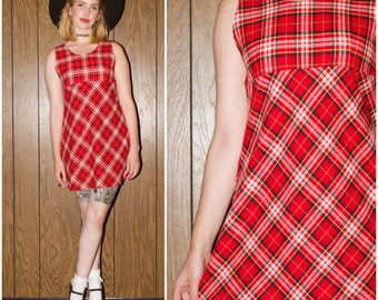 ON SALE Vintage 90s Hipster Club Kid Raver Grunge Red Yellow White Plaid Clueless Tartan Mini Dress Small