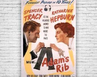 """Adam""""s rib, 1949, Spencer Tracy, Katharine Hepburn - 12""""x18"""" Movie Print Poster"""