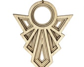 POIRET | art deco necklace, geometric necklace, vintage inspired art deco pendant necklace, long necklace: laser cut wood necklace