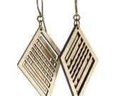 HEAD-TURNER | skewed diamond earrings, geometric earrings, asymmetrical diamond shaped dangle earrings: laser cut wood earrings