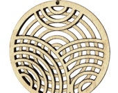 BEL GEDDES | laser cut necklace, round pendant necklace, long necklace with wood pendant: laser cut wood necklace