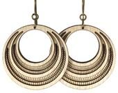 CHAREAU | retro hoops, wooden hoop earrings, wood hoop earrings, retro inspired hoop earrings: laser cut wood earrings