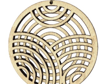 KNOCKOUT | laser cut necklace, round pendant necklace, long necklace with wood pendant: laser cut wood necklace
