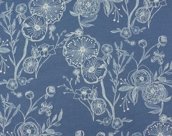 Cotton/lycra knit fabric, Art Gallery Line Drawings in Bluing, steel blue with off white