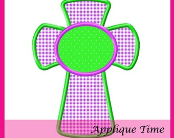 Instant Download Monogram Cross Machine Embroidery Applique Design 4x4, 5x7 and 6x10