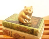 Brass Bear Paperweight, Figurine, Statue, Hollywood Regency, Vintage Brass, Grizzly Bear