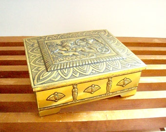 Vintage Gold Tin Box, Hinged, Gladiator Motif, West Germany