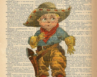 Dictionary Art Print - Little Cowboy - Upcycled Vintage Dictionary Page Poster Print - Size 8x10