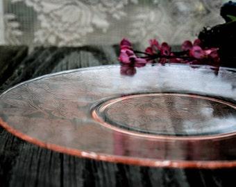 Platter, Pink, Depression Glass, Salver,MacBeth Evans, Dogwood Pattern