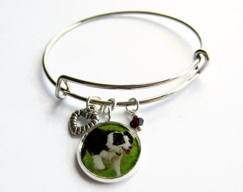 Pet Photo Charm Bangle, Custom Personalised Bracelet, Adjustable, Expandable, Stackable, Keepsake Jewellery, Pet Photo, Dog Lover Gift