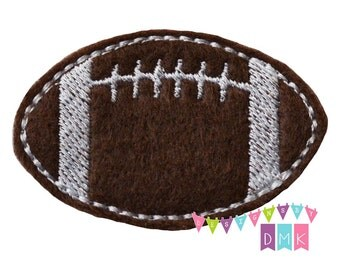 Football on Brown Felt Embroidered Embellishment Clippie Cover SET of 4