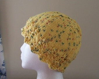 Chemo Hat Cotton Sleep Cap for Women, Hand Knit in Yellow Tweed soft yarn with lace edge accent, Ships ASAP