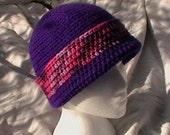 Crocheted Hat Beannie cap toque Purple pink berry tweed Knit cloche CT008