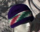 Crocheted Hat, Beannie Toque Cap Purple pink green white tweed Knit cloche CT009
