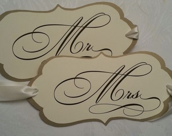 Mr & Mrs. Wedding Chair Signs (April Collection)