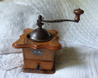 Antique French coffee grinder wood coffee mill wooden coffee grinder coffee grinder complete w label, kitchenware country cottage kitchen