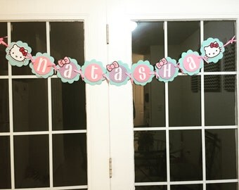 Hello Kitty Inspired Name Banner Birthday Party Banner