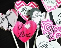 Paris Cupcake Toppers, French Themed Cupcake Toppers, Paris Birthday, Paris Themed Party, Ooh La La Party, Eiffel Tower, Pink Paris Party